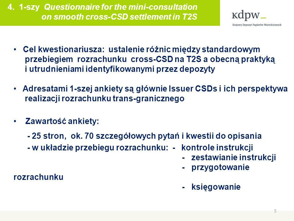 5 Maciej Szymański 4. 1-szy Questionnaire for the mini-consultation on smooth cross-CSD settlement in T2S Cel kwestionariusza: ustalenie różnic między