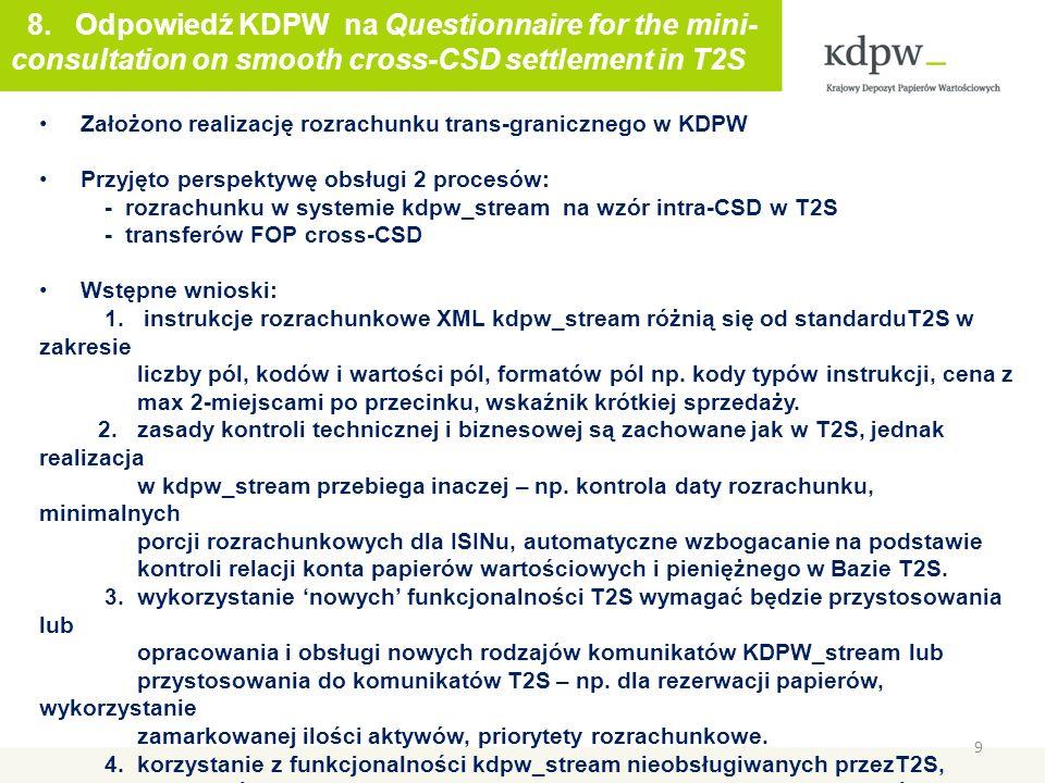 9 Maciej Szymański 8. Odpowiedź KDPW na Questionnaire for the mini- consultation on smooth cross-CSD settlement in T2S Założono realizację rozrachunku