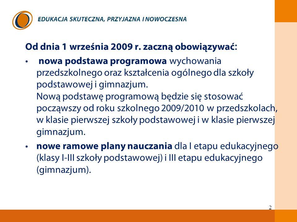 EDUKACJA SKUTECZNA, PRZYJAZNA I NOWOCZESNA 2 Od dnia 1 września 2009 r. zaczną obowiązywać : nowa podstawa programowa wychowania przedszkolnego oraz k