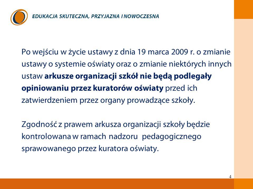 EDUKACJA SKUTECZNA, PRZYJAZNA I NOWOCZESNA 4 Po wejściu w życie ustawy z dnia 19 marca 2009 r. o zmianie ustawy o systemie oświaty oraz o zmianie niek