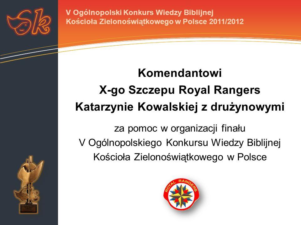 Komendantowi X-go Szczepu Royal Rangers Katarzynie Kowalskiej z drużynowymi za pomoc w organizacji finału V Ogólnopolskiego Konkursu Wiedzy Biblijnej