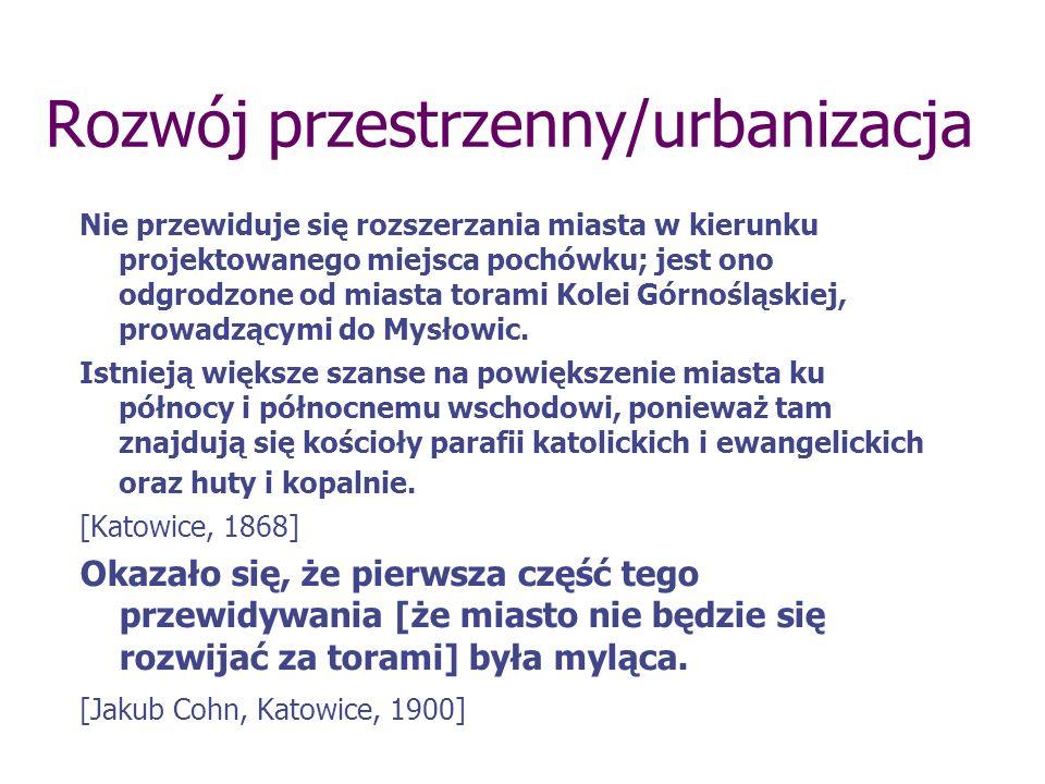 Rozwój przestrzenny/urbanizacja Nie przewiduje się rozszerzania miasta w kierunku projektowanego miejsca pochówku; jest ono odgrodzone od miasta torami Kolei Górnośląskiej, prowadzącymi do Mysłowic.