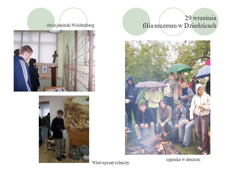 29 września filia muzeum w Dziedzicach obóz jeniecki Woldenberg Wieś-sprzęt rolniczy ognisko w deszczu