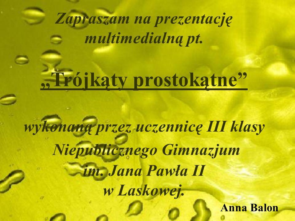 Zapraszam na prezentację multimedialną pt. Trójkąty prostokątne wykonaną przez uczennicę III klasy Niepublicznego Gimnazjum im. Jana Pawła II w Laskow