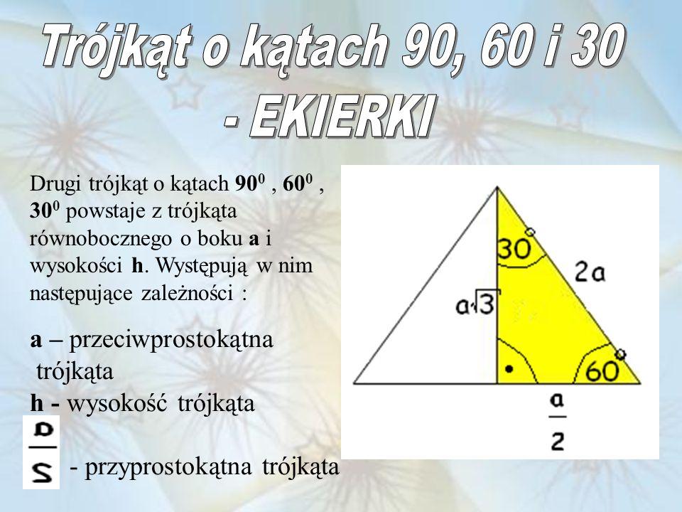 Drugi trójkąt o kątach 90 0, 60 0, 30 0 powstaje z trójkąta równobocznego o boku a i wysokości h. Występują w nim następujące zależności : a – przeciw