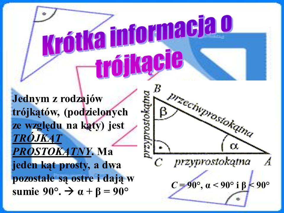 Jednym z rodzajów trójkątów, (podzielonych ze względu na kąty) jest TRÓJKĄT PROSTOKĄTNY. Ma jeden kąt prosty, a dwa pozostałe są ostre i dają w sumie