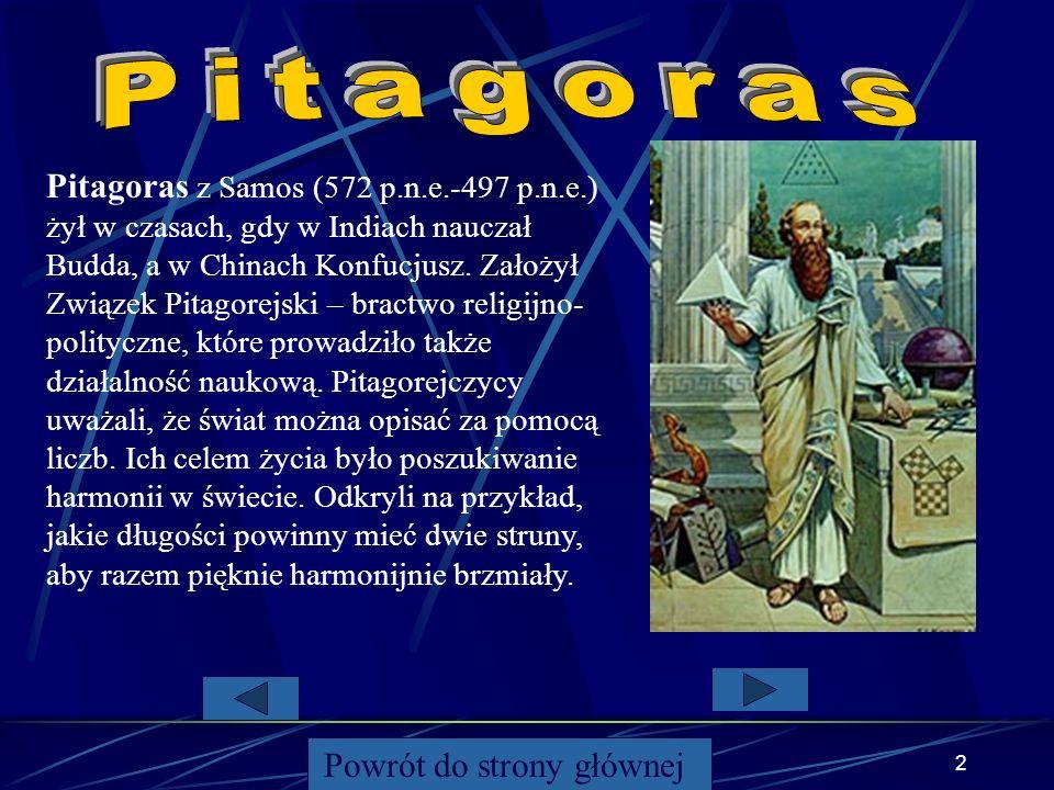 1 1. Informacje o Pitagorasie 2. Twierdzenie – wzór i rysunek 3. Twierdzenie odwrotne 4. Ekierki 5. Zastosowanie 6. Przykładowe zadania 7. Ciekawostki