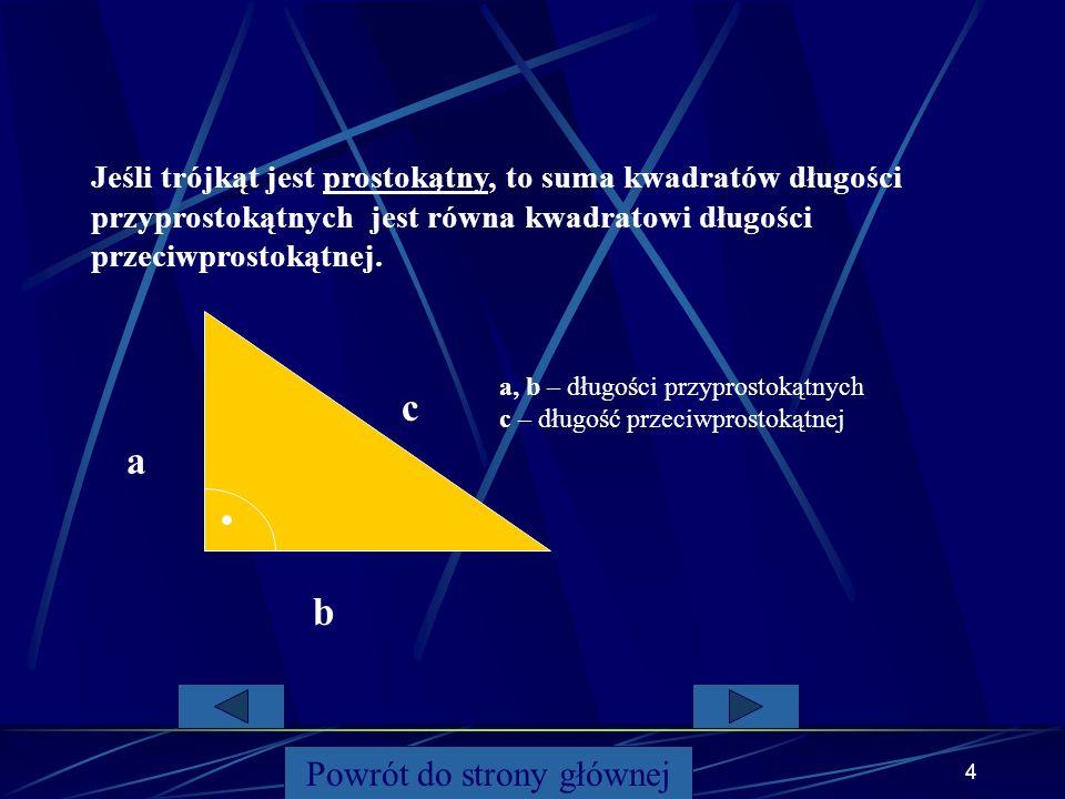 3 W trójkącie prostokątnym suma pól kwadratów zbudowanych na przyprostokątnych jest równa polu kwadratu zbudowanego na przeciwprostokątnej. Powrót do