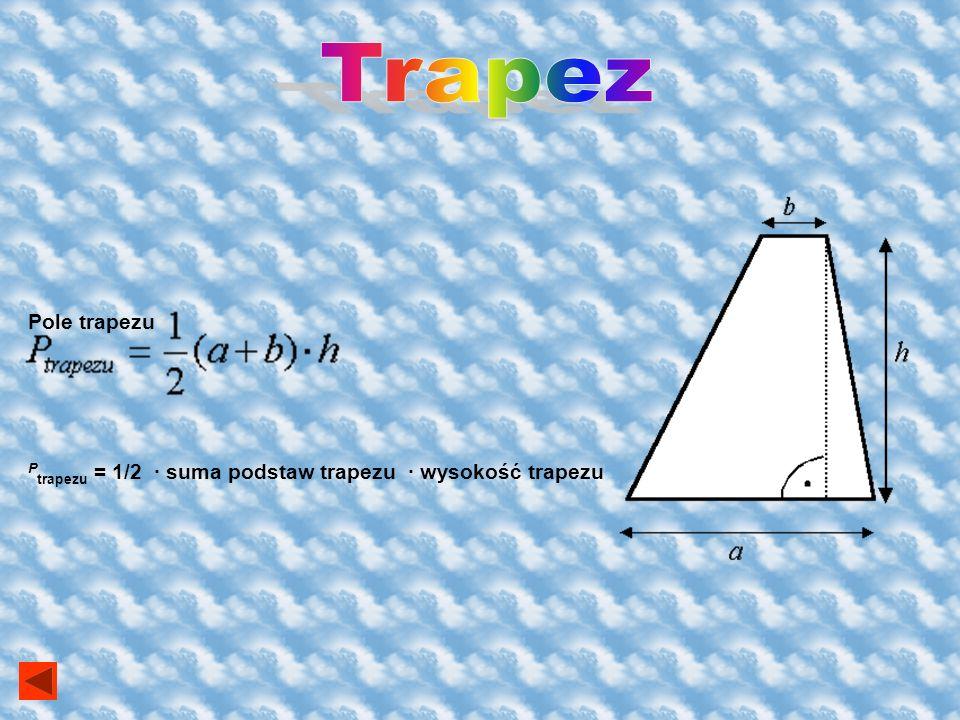 Pole rombu Prombu = e f / 2 Gdzie e, f - dłuższa i krótsza przekątna rombu. Prombu = 1/2 iloczyn przekątnych