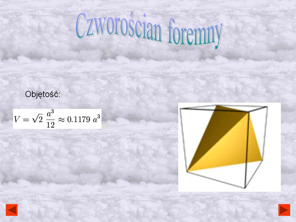 Wzory - ilość boków podstawy graniastosłupa; - długość boku podstawy graniastosłupa; - wysokość graniastosłupa (długość odcinka łączącego dwie podstaw