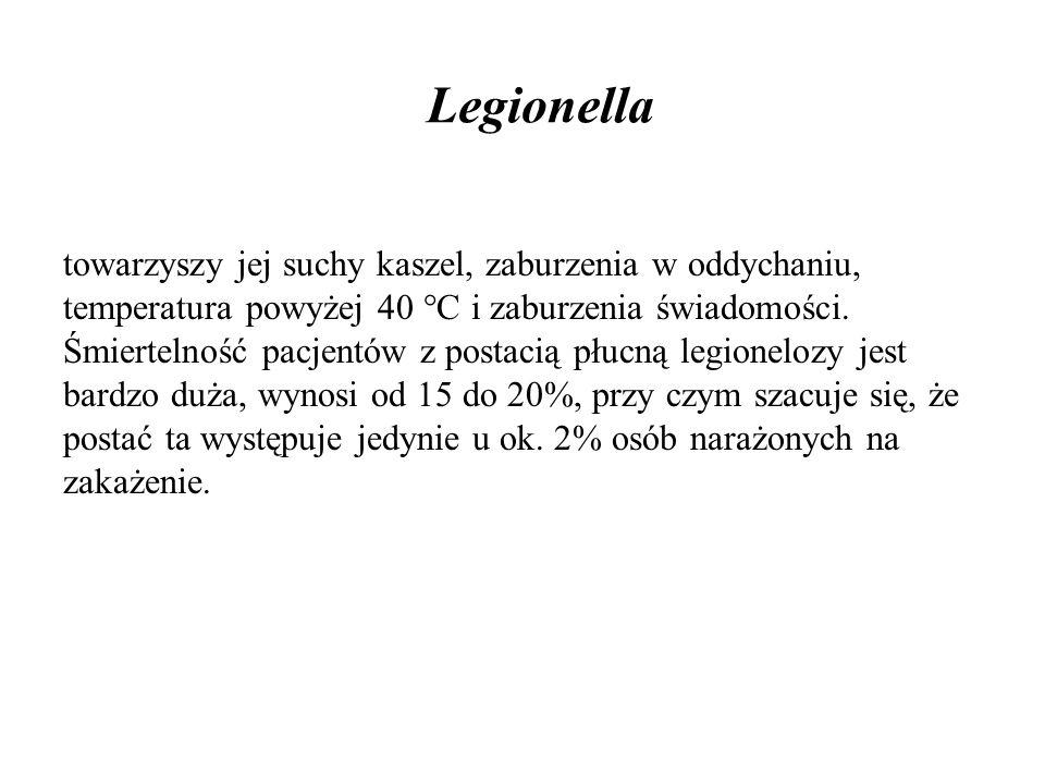 Legionella towarzyszy jej suchy kaszel, zaburzenia w oddychaniu, temperatura powyżej 40 °C i zaburzenia świadomości. Śmiertelność pacjentów z postacią