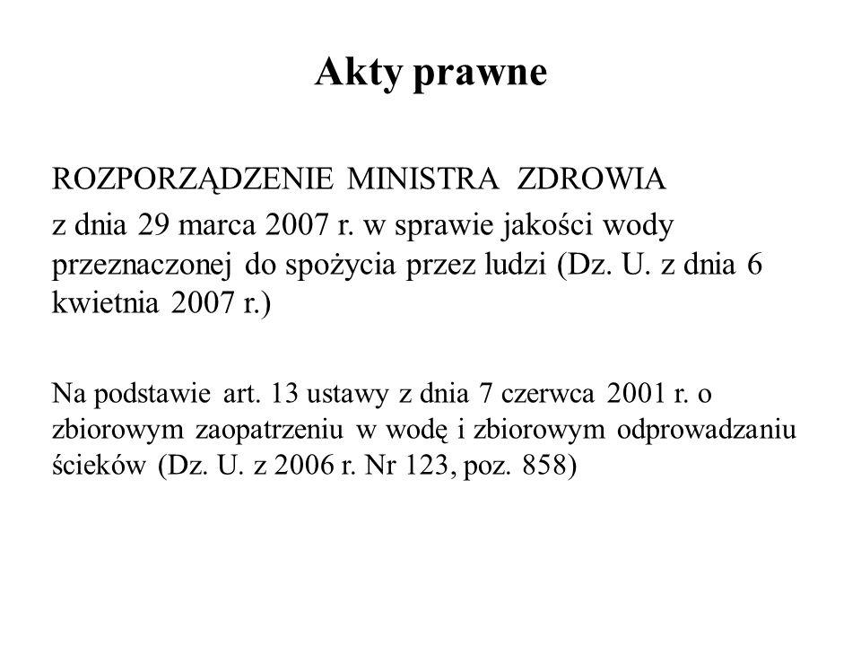 Akty prawne ROZPORZĄDZENIE MINISTRA ZDROWIA z dnia 29 marca 2007 r. w sprawie jakości wody przeznaczonej do spożycia przez ludzi (Dz. U. z dnia 6 kwie