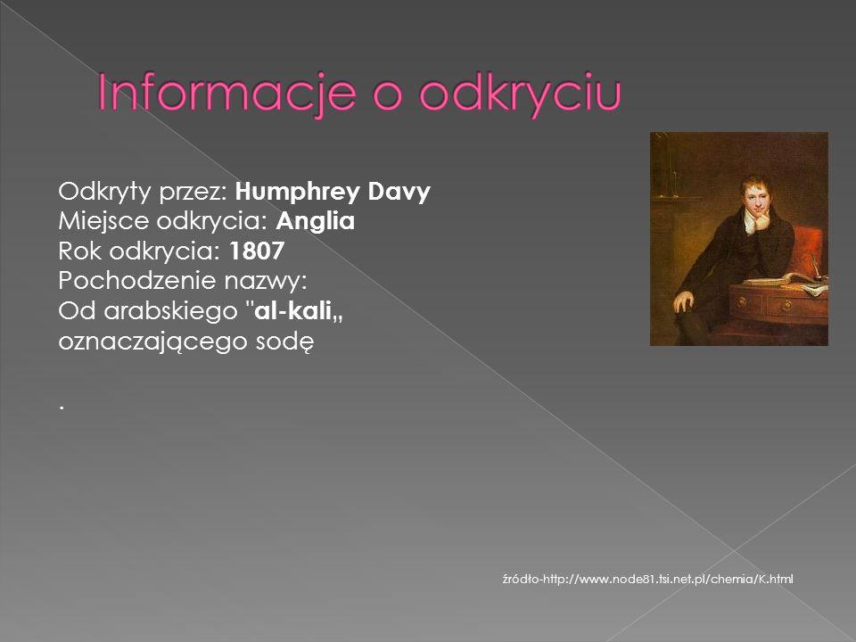 Odkryty przez: Humphrey Davy Miejsce odkrycia: Anglia Rok odkrycia: 1807 Pochodzenie nazwy: Od arabskiego