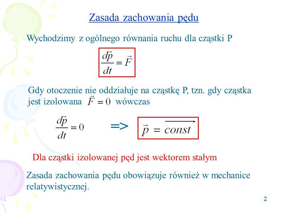 3 Moment pędu Moment pędu (kręt) cząstki P względem punktu O definiujemy jako iloczyn wektorowy promienia wodzącego cząstki i jej pędu O