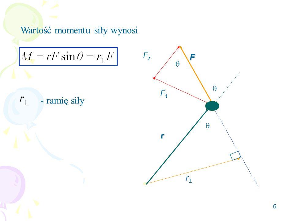 7 Między momentem pędu i momentem siły istnieje zależność Pochodna momentu pędu cząsteczki względem czasu jest równa momentowi siły działającej na tą cząsteczkę => Przyrost momentu pędu cząstki w przedziale czasu t jest równy popędowi momentu siły.