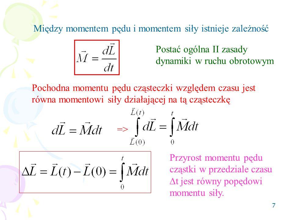 8 Korzystając ze wzorów, Mamy Gdy I=const => II zasada dynamiki w ruchu obrotowym dla I=const Gdy => to Gdy nie ma momentu siły, moment pędu cząstki jest wektorem stałym.