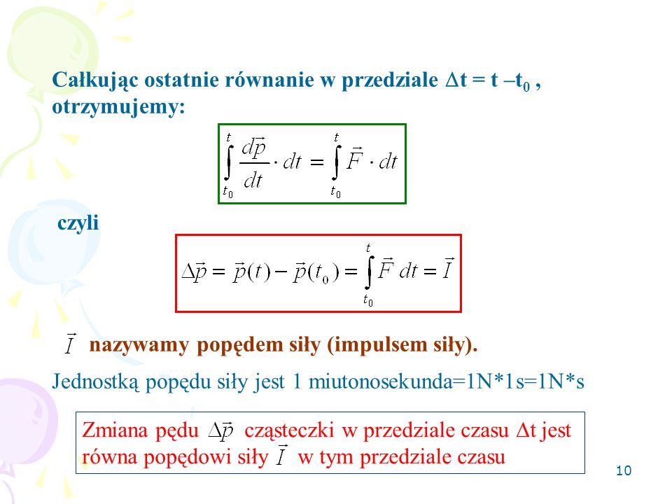 10 Całkując ostatnie równanie w przedziale t = t –t 0, otrzymujemy: czyli nazywamy popędem siły (impulsem siły). Jednostką popędu siły jest 1 miutonos