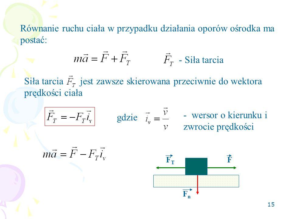 15 Równanie ruchu ciała w przypadku działania oporów ośrodka ma postać: - Siła tarcia Siła tarcia jest zawsze skierowana przeciwnie do wektora prędkoś