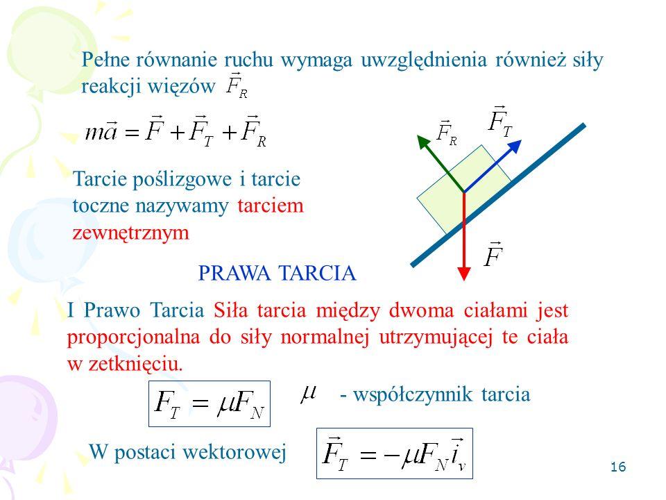16 Pełne równanie ruchu wymaga uwzględnienia również siły reakcji więzów Tarcie poślizgowe i tarcie toczne nazywamy tarciem zewnętrznym PRAWA TARCIA I