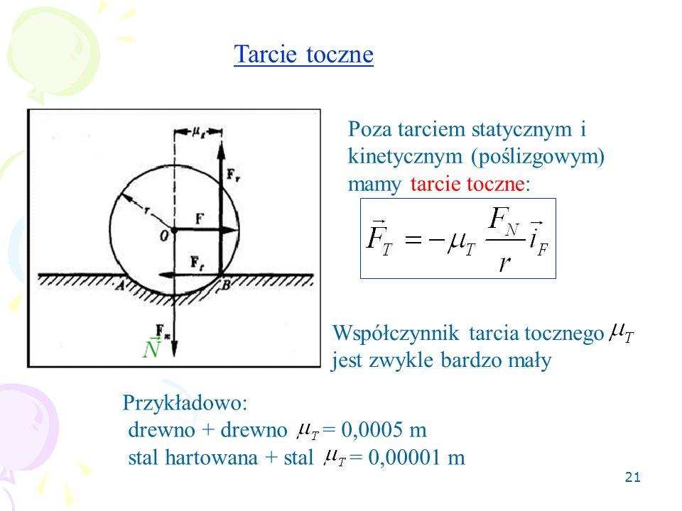 21 Tarcie toczne Poza tarciem statycznym i kinetycznym (poślizgowym) mamy tarcie toczne: Współczynnik tarcia tocznego jest zwykle bardzo mały Przykład