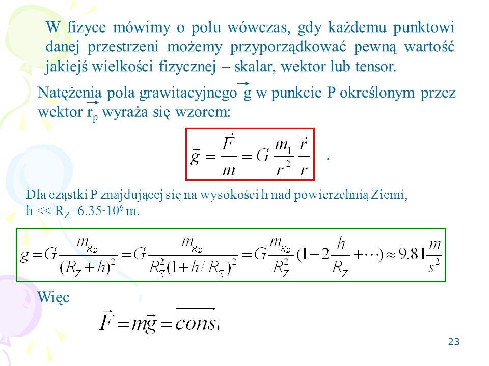 23 W fizyce mówimy o polu wówczas, gdy każdemu punktowi danej przestrzeni możemy przyporządkować pewną wartość jakiejś wielkości fizycznej – skalar, w