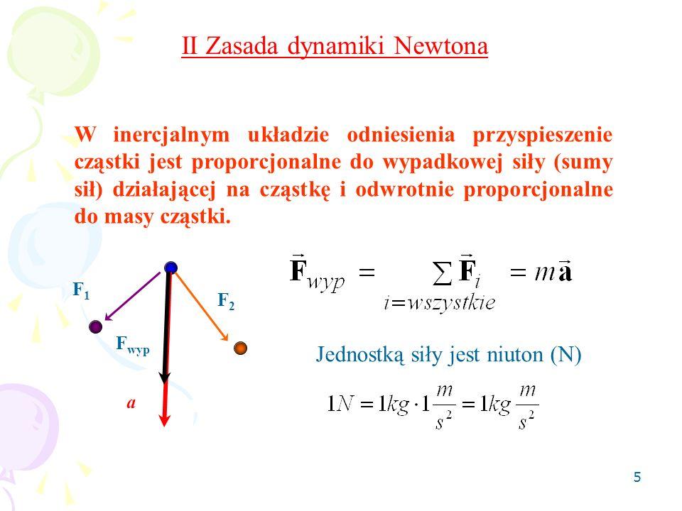 5 II Zasada dynamiki Newtona W inercjalnym układzie odniesienia przyspieszenie cząstki jest proporcjonalne do wypadkowej siły (sumy sił) działającej n