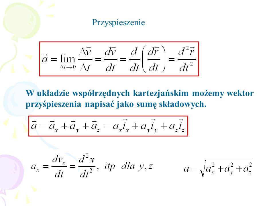 Przyspieszenie W układzie współrzędnych kartezjańskim możemy wektor przyśpieszenia napisać jako sumę składowych.