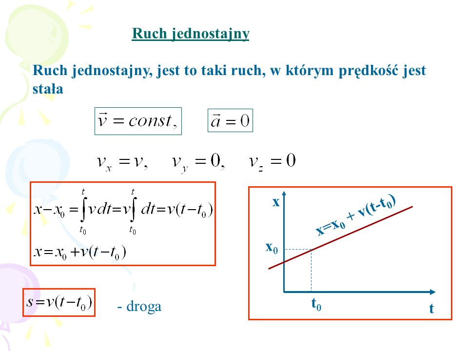 Ruch jednostajny, jest to taki ruch, w którym prędkość jest stała Ruch jednostajny x t x=x 0 + v(t-t 0 ) t0t0 x0x0 - droga