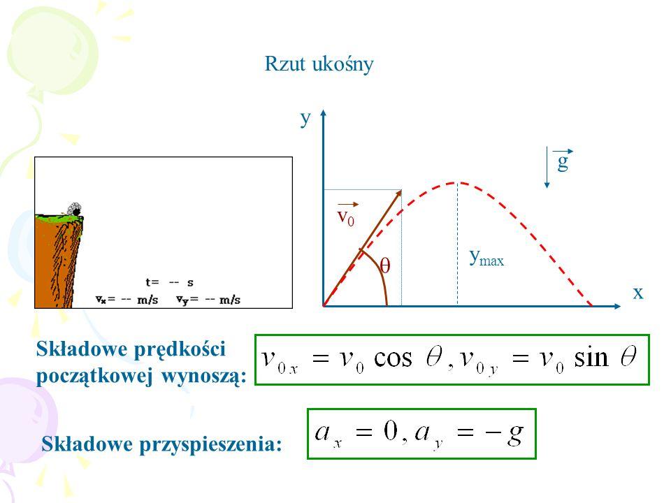 Rzut ukośny Składowe prędkości początkowej wynoszą: Składowe przyspieszenia: y x v0v0 y max g