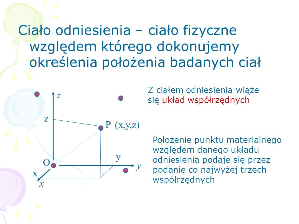 Ciało odniesienia – ciało fizyczne względem którego dokonujemy określenia położenia badanych ciał O y z z x y P x (x,y,z) Położenie punktu materialneg