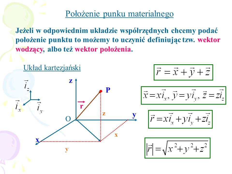x y r P y x z z O Jeżeli w odpowiednim układzie współrzędnych chcemy podać położenie punktu to możemy to uczynić definiując tzw. wektor wodzący, albo
