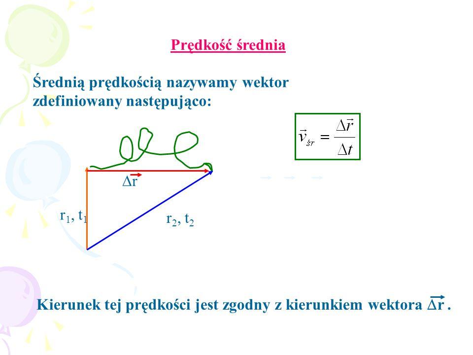Kierunek tej prędkości jest zgodny z kierunkiem wektora r. Prędkość średnia r 1, t 1 r 2, t 2 r Średnią prędkością nazywamy wektor zdefiniowany następ