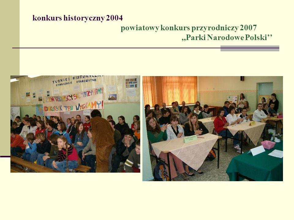 konkurs historyczny 2004 powiatowy konkurs przyrodniczy 2007,,Parki Narodowe Polski