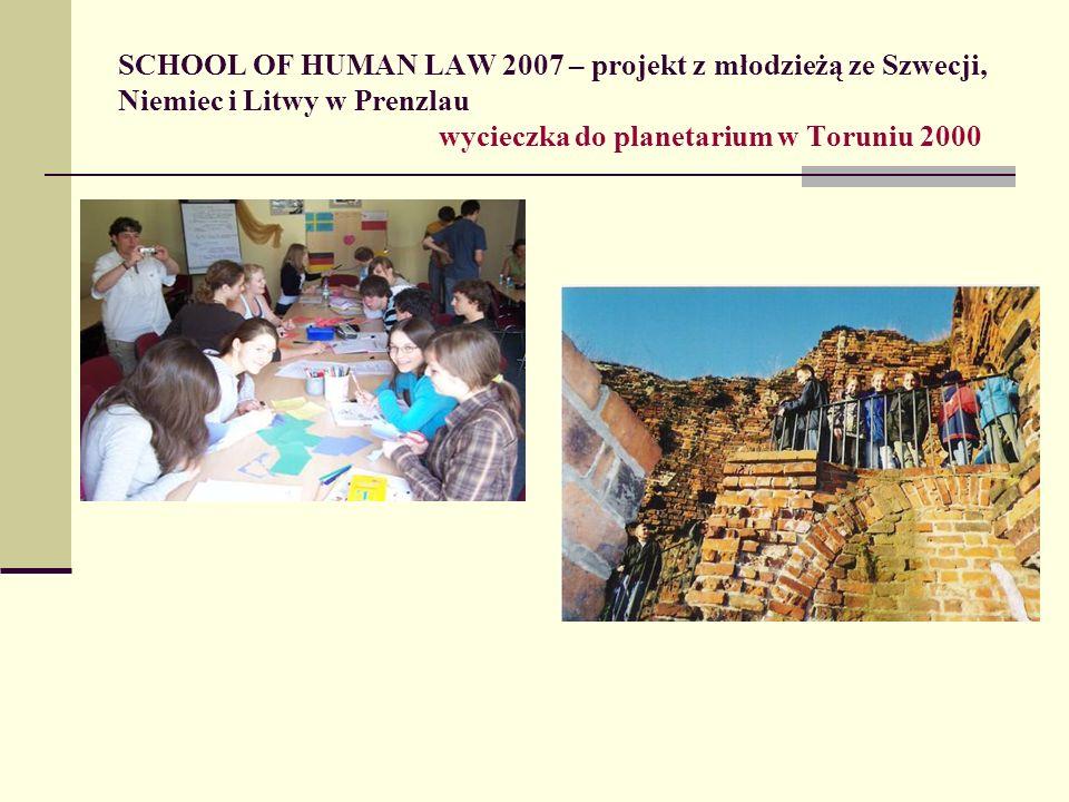 SCHOOL OF HUMAN LAW 2007 – projekt z młodzieżą ze Szwecji, Niemiec i Litwy w Prenzlau wycieczka do planetarium w Toruniu 2000