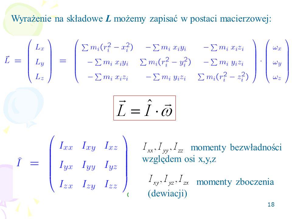 18 Wyrażenie na składowe L możemy zapisać w postaci macierzowej: momenty bezwładności względem osi x,y,z momenty zboczenia (dewiacji)