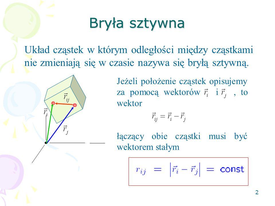 2 Bryła sztywna Układ cząstek w którym odległości między cząstkami nie zmieniają się w czasie nazywa się bryłą sztywną. Jeżeli położenie cząstek opisu