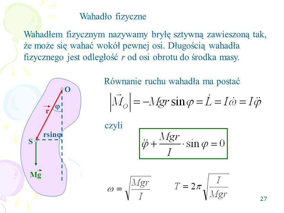 27 Wahadło fizyczne Wahadłem fizycznym nazywamy bryłę sztywną zawieszoną tak, że może się wahać wokół pewnej osi. Długością wahadła fizycznego jest od