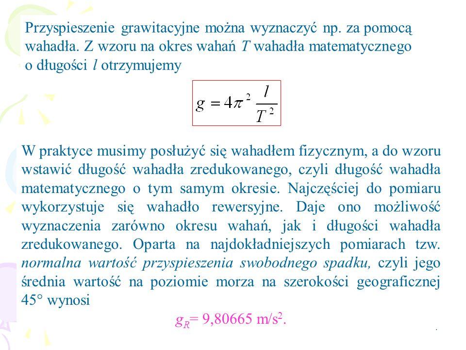 4 Przyspieszenie grawitacyjne można wyznaczyć np. za pomocą wahadła.