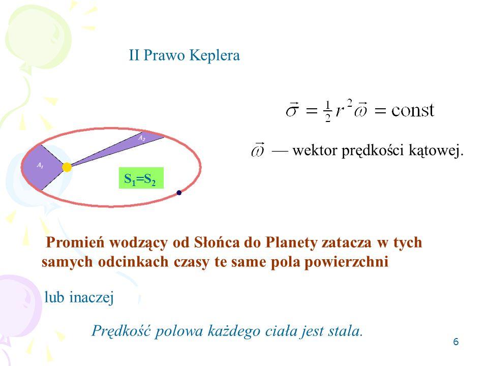 6 Promień wodzący od Słońca do Planety zatacza w tych samych odcinkach czasy te same pola powierzchni S 1 =S 2 II Prawo Keplera wektor prędkości kątowej.