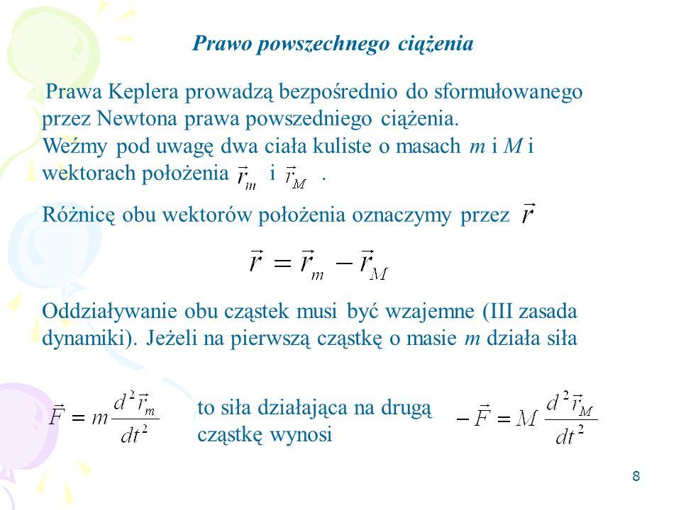 8 Prawo powszechnego ciążenia Prawa Keplera prowadzą bezpośrednio do sformułowanego przez Newtona prawa powszedniego ciążenia.