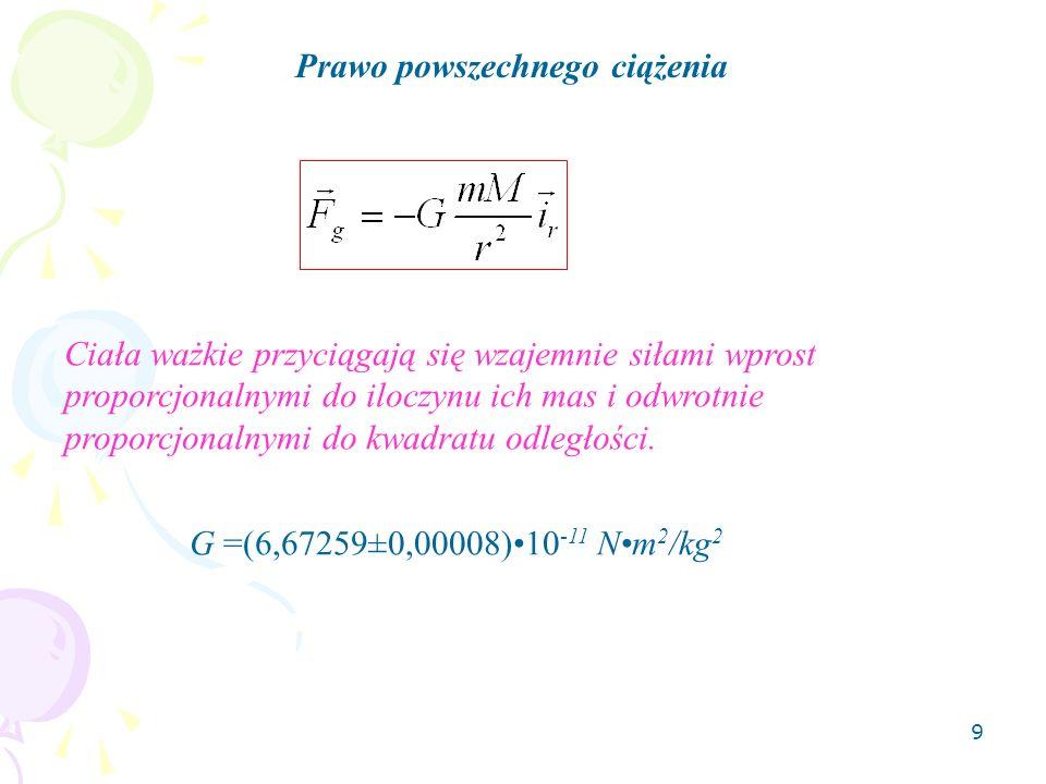 10 Ważenie ciał niebieskich Znając stałą grawitacji, możemy wyznaczyć masę Ziemi z równania czyli na powierzchni Ziemi (r = R, g=g R ) Stąd M Z = 5,9810 24 kg.