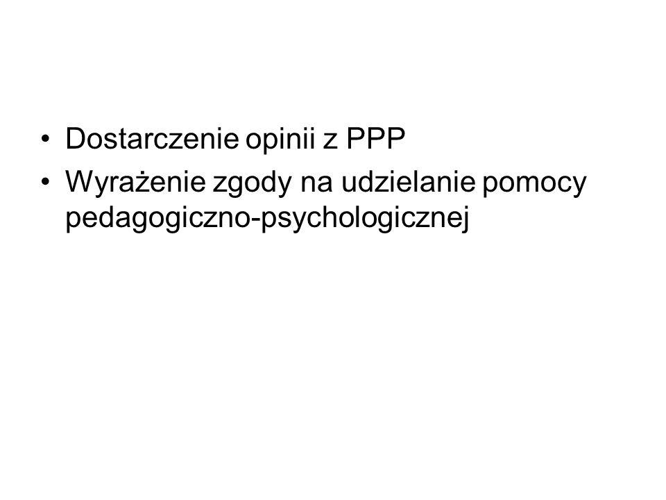 Dostarczenie opinii z PPP Wyrażenie zgody na udzielanie pomocy pedagogiczno-psychologicznej