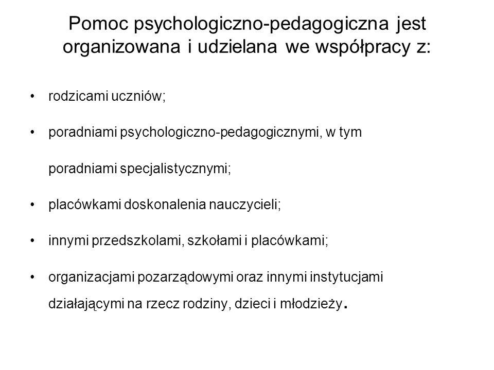Pomoc psychologiczno-pedagogiczna jest udzielana z inicjatywy: ucznia; rodziców ucznia; nauczyciela, wychowawcy grupy wychowawczej lub specjalisty, prowadzącego zajęcia z uczniem; poradni psychologiczno-pedagogicznej, w tym poradni specjalistycznej; asystenta edukacji romskiej; pomocy nauczyciela.