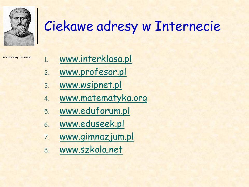 Wielościany foremne Ciekawe adresy w Internecie 1. www.interklasa.pl www.interklasa.pl 2. www.profesor.pl www.profesor.pl 3. www.wsipnet.pl www.wsipne