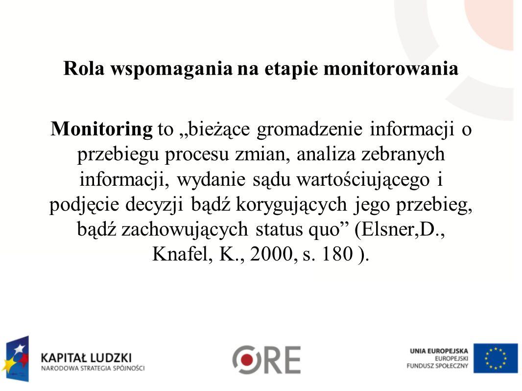 Rola wspomagania na etapie monitorowania Monitoring to bieżące gromadzenie informacji o przebiegu procesu zmian, analiza zebranych informacji, wydanie sądu wartościującego i podjęcie decyzji bądź korygujących jego przebieg, bądź zachowujących status quo (Elsner,D., Knafel, K., 2000, s.