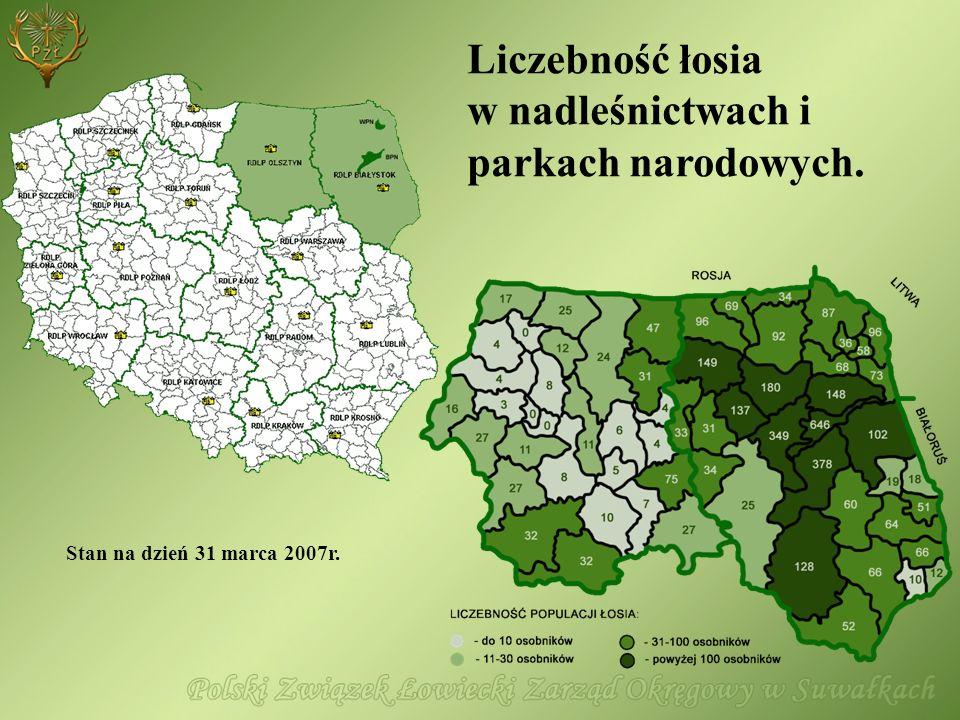 Liczebność łosia w nadleśnictwach i parkach narodowych. Stan na dzień 31 marca 2007r.