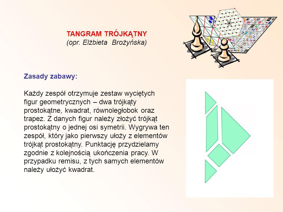 TANGRAM TRÓJKĄTNY (opr. Elżbieta Brożyńska) Zasady zabawy: Każdy zespół otrzymuje zestaw wyciętych figur geometrycznych – dwa trójkąty prostokątne, kw