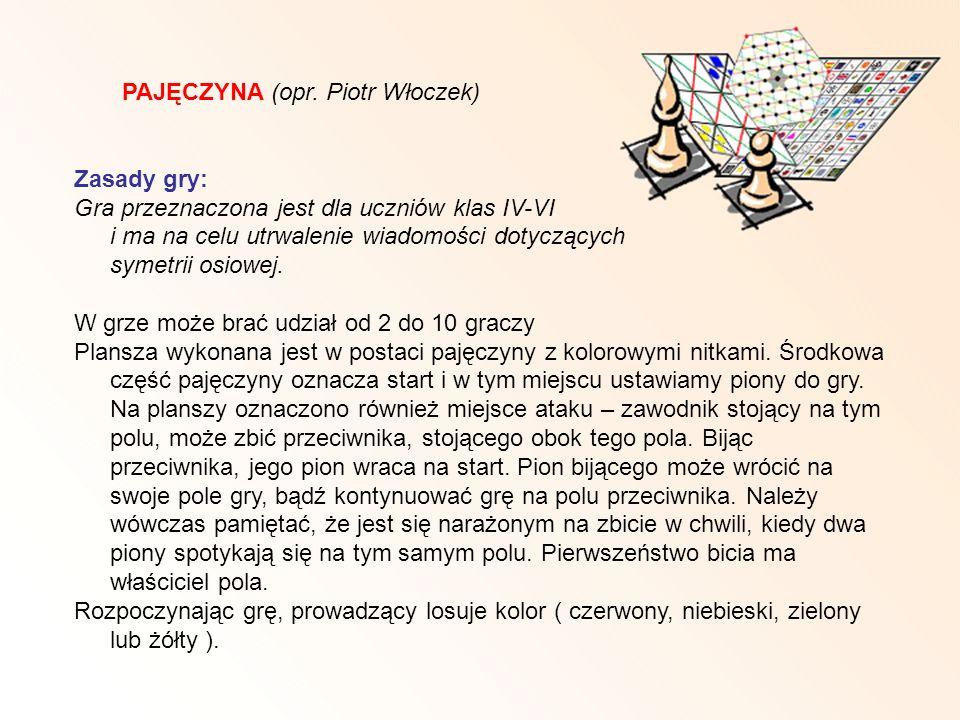 PAJĘCZYNA (opr. Piotr Włoczek) Zasady gry: Gra przeznaczona jest dla uczniów klas IV-VI i ma na celu utrwalenie wiadomości dotyczących symetrii osiowe