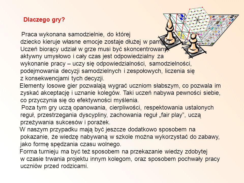 Dlaczego gry? Praca wykonana samodzielnie, do której dziecko kieruje własne emocje zostaje dłużej w pamięci. Uczeń biorący udział w grze musi być skon