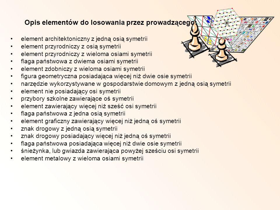 Opis elementów do losowania przez prowadzącego: element architektoniczny z jedną osią symetrii element przyrodniczy z osią symetrii element przyrodnic